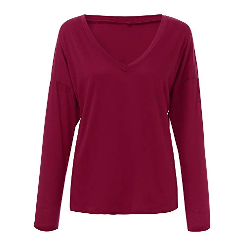 Blouse Longues Tunique Shirts V Manches Col KEERADS Femmes en Rouge Dcontract Solide T Tops Sexy Lache AOq6F5