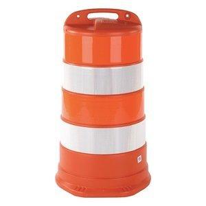 Cortina Traffic Barrel, White/Orange, HDPE (Traffic Equipment)