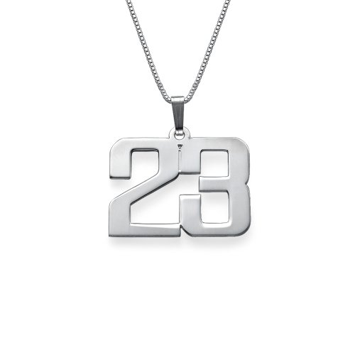 925 Sterling Silver Customized Jewelry For Men - Personalized Charm Number Necklace - Fathers Day Gift (Number Silver Pendants)