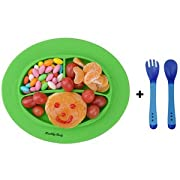Silicone Baby Placemat, Improved Non-slip Baby Plates, Suction Self Feeding Set Fit Most Highchair (Green)