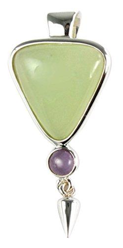 Gorgeous Gemstone Sterling Silver Pendant in Amethyst Serpentine