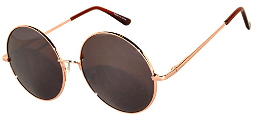 Circle Round Sunglasses Brown Lens Gold Metal Frame Retro ()