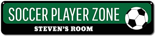 (Iliogine Soccer Player Zone Sign Personalized Soccer Lover Kid Bedroom Sign Custom Soccer Ball Child Name Room Decor Metal Sign Home Decor Funny Words Street Tin Sign Gift)