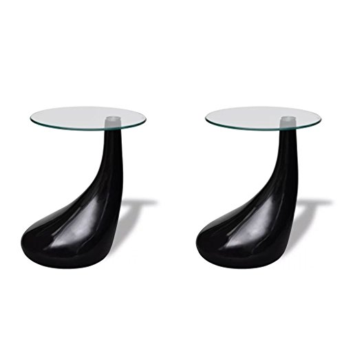 Gloss Black Glass - Festnight Set of 2 Round Shape Coffee Table Clear with Glass Top and Teardrop Stand End Side Table Living Room Home Office Furniture (Black)
