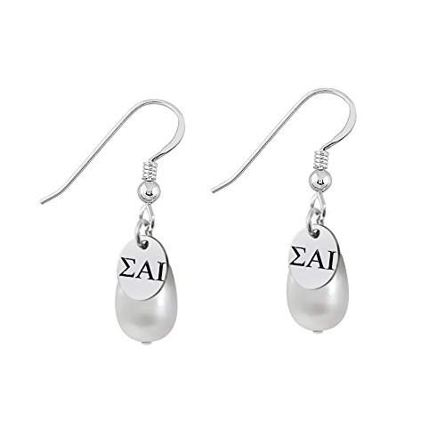 Sigma Alpha Iota Sterling Silver Cultured Freshwater Pearl Drop Earrings - Fraternity Sorority Pearls