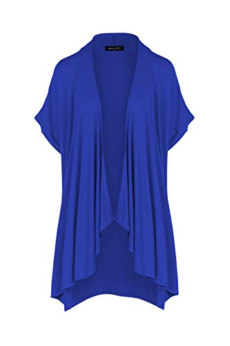 P1269 Womens Casual Short Sleeve Draped Open Front Cardigan with Pockets Royal S ()