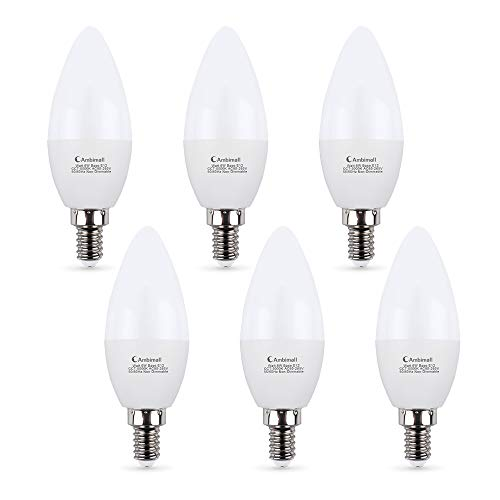 Candelabra LED Bulbs 60Watts, Ambimall 6 Watt E12 Base Daylight White 5000K 600Lumens, Chandelier Light Non-Dimmable for Ceiling Fan(6 Pack)