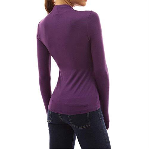 Longues T Col Femme Top Spcial Tshirt Uni Mode Et Mode Shirt Jeune Debout Manches Shirts Fit Loisir Party Manche Slim Button Lilas Style lgant 8T5qw0