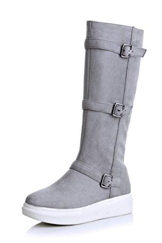 tamaño correa tubo gran de plana DYF hebilla Zapatos 37 de sólido botas gris de alta color largas FFx7q8wX