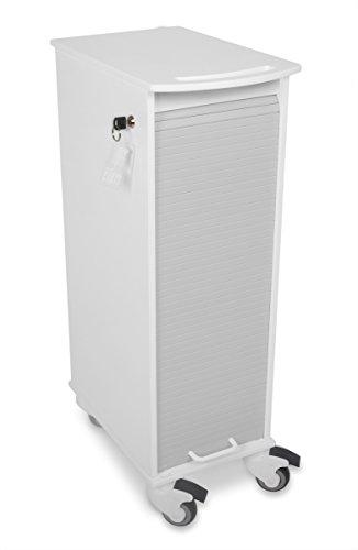 TrippNT 51977 White/Gray Polyethylene Lockable Narrow Lab Cart: 12 x 36 x 19 inches WHD