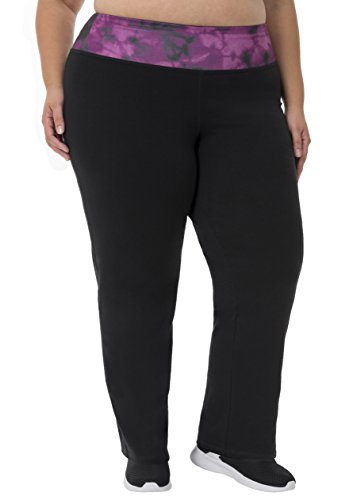Fit for Me by Fruit of the Loom Women's Plus Size Relaxed Fit Yoga Pant, Black/Deep Plum Cloud, 2X by Fit for Me by Fruit of the Loom
