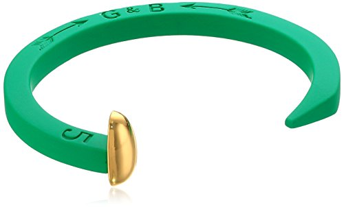 Giles and Brother Kelly Green Rubberized Original Railroad Spike Cuff with Gold Finished Nail Head Cuff Bracelet