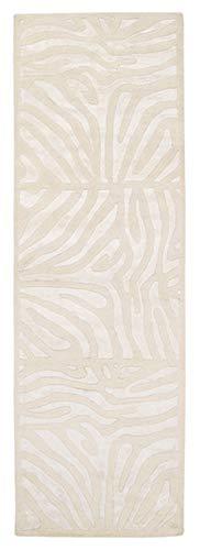 - CC Home Furnishings 2.5' x 8' Burchelli Zebra Chain Parchment Wool Area Throw Rug