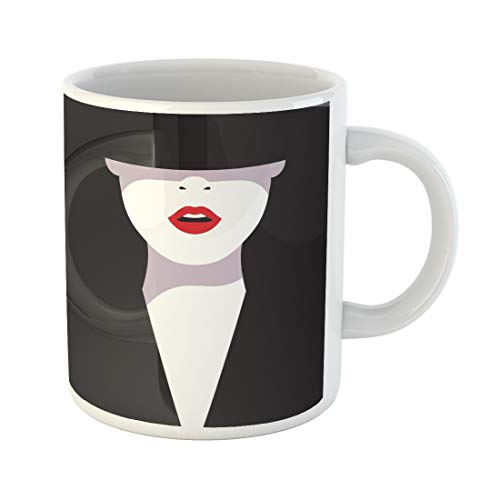 (Emvency Funny Coffee Mug Classy High Cartoon Glamorous Woman with Red Lips on Black Fashionable in Makeup 11 Oz Ceramic Coffee Mug Tea Cup Best Gift Or)