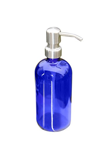 Industrial Rewind Cobalt Blue Pint Jar Soap Dispenser with Stainless Metal Pump - Blue 16oz Glass Jar Lotion (Blue Soap Dispenser)