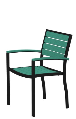 POLYWOOD A200FABAR Euro Dining Arm Chair, Textured Black/Aruba