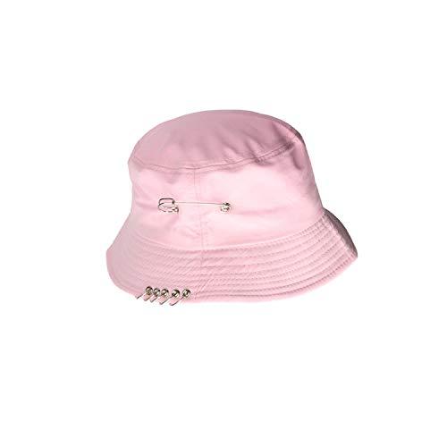 81c63d24228dd1 2019 Wild Iron Ring Pin Harajuku Foldable Men and Women Fisherman Hat  Bucket Hats Basin Caps,Pink,57 cm