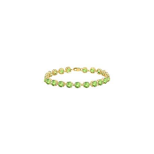 (Peridot Bracelet in 18K Yellow Gold Vermeil. 12 CT. TGW. 7 Inch)