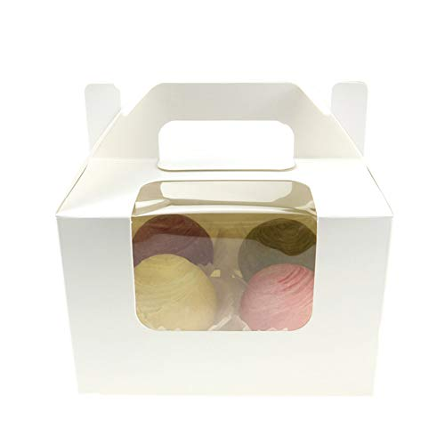 Paper Cupcake Box Carriers Containers with PVC Window/Cardboard Insert for high toppinges, 4 Holders, Pack of 10 by Dunhil