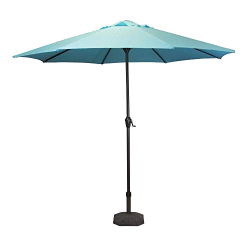 - 8' Outdoor Patio Market Umbrella with Hand Crank and Tilt, Turquoise Blue