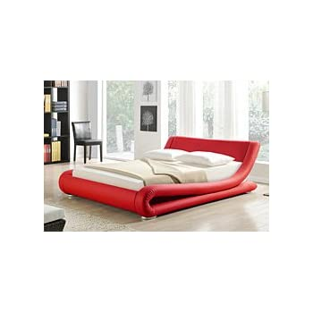 Amazon.com: Greatime B1070 Modern Upholstered Bed, Queen, Red ...