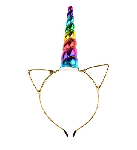 Love Sweety Glod Cat Ear Unicorn Headband Cosplay Headwear Unicron Horn Headpiece (Rainbow)