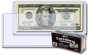 25 Pack 6.5 x 3 – Dollar Bill Currency Topload Holders