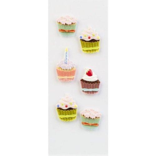 Little B 100144 Dimensional Stickers, Mini, Cupcakes