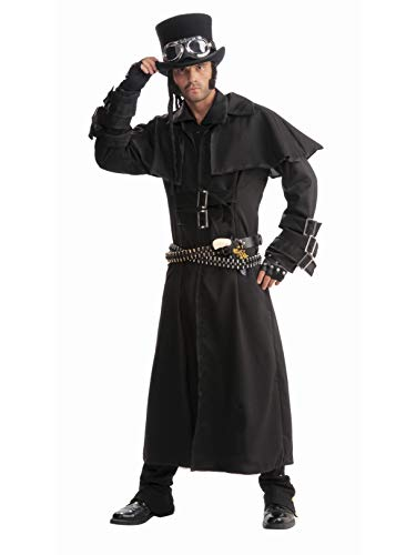 Men's Steampunk Duster Coat, Black, One Size Costume ()