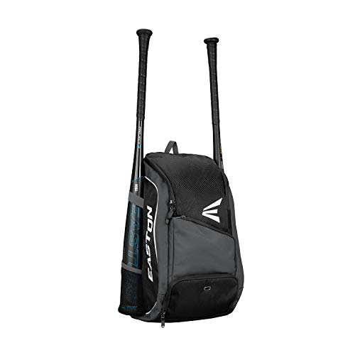 EASTON GAME READY Bat & Equipment Backpack Bag | Baseball Softball | 2019 | Black | 2 Bat Pockets | Vented Main Compartment | Vented Shoe Pocket | Zippered Valuables Pocket | Fence Hook