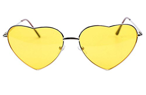 Genluna Vintage Metal Love Heart Shaped Sunglasses Free Silver-Yellow