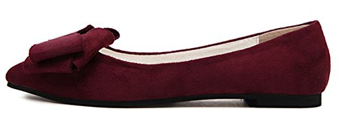 Dressy Toe Red Slip Pointed Shoes Bow IDIFU Wide On Womens Pumps Width Flats Wine 5BSFqBxa