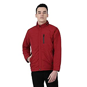 Monte Carlo Maroon Solid Cotton Polo Collar Jacket