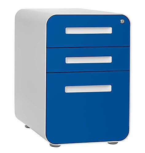 Stockpile 3-Drawer Mobile File Cabinet, Commercial-Grade, Pre-Assembled (Blue Faceplate)