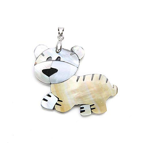 - 43x56 Mm Lovely Animal Tiger Shell Charm Pendant Natural Mother of Pearl Shell Pendant for DIY Necklace Jewelry