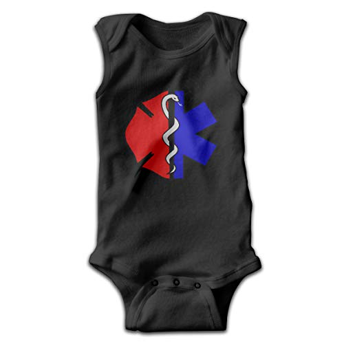 Fire Rescue Scrabble Maltese Printed Toddler Baby Girls Sleeveless Bodysuits Coverall Jumpsuit Black ()