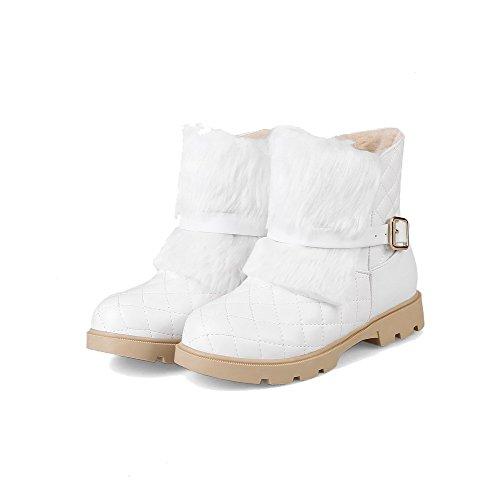 VogueZone009 Damen Flaum Gemischte Farbe Ziehen auf Rund Zehe Niedriger Absatz Stiefel Weiß