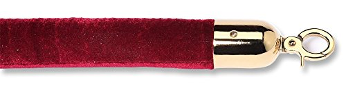 ComeAlong Industries Velour Rope with Polished Brass Snap End, 6', Maroon
