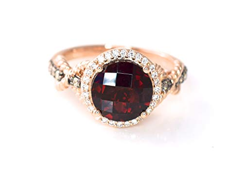 LeVian Pomegranate Garnet Chocolate and White Diamonds Cocktail Ring 2.02 cttw Intense Crimson Red 14k Rose Gold size 7 (Le Vian Chocolate Diamond And Garnet Ring)