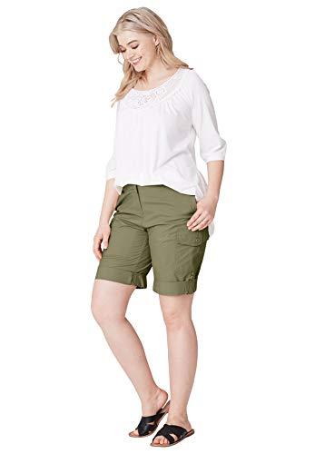 Ellos Women's Plus Size Convertible Cargo Shorts - Dark Basil, 18