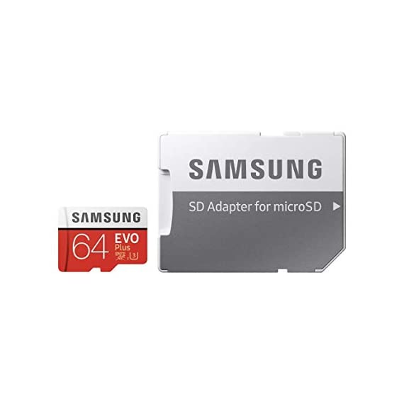 Samsung 64GB MicroSDXC EVO Plus Memory Card w/ Adapter (MB-MC64GA) 5 64GB microSDXC Memory Card EVO Plus Family Line Read:up to 100MB/s with UHS-1 interface Write:up to 60MB/s with UHS-1 interface UHS-I, compatible to HS interface, Grade 3, Class 10, 4K