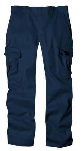 Dickies Men's Relaxed Straight Fit Cargo Work Pant, Dark Navy, 44x30