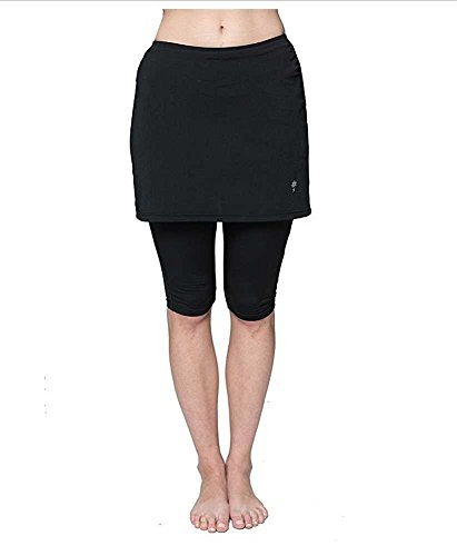 HydroChic Women's Plus Size Skirted Swim Capri Pants, Modest Swimsuit Capri Skirt (Black, 5X) by HydroChic