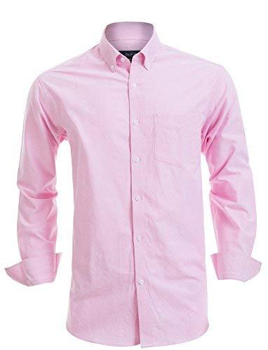 - Double Pump Mens Button Down Shirts 100% Cotton Long Sleeve Shirts Regular Fit (SL13A,L)