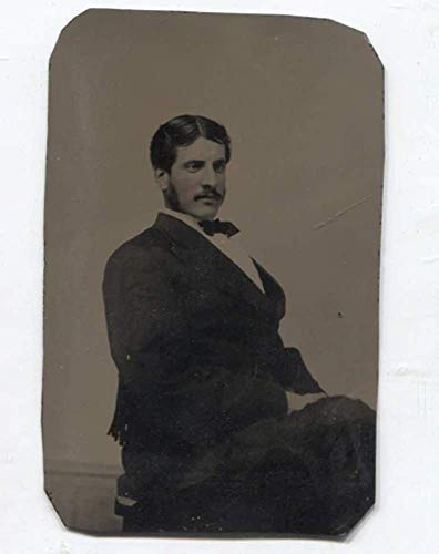 Antique 1/6 Plate Tintype Photo Man w/Tinted Cheeks Mutton Chops & Mustache in Suit]()