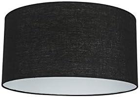 QAZQA Moderno Algodón y poliéster Pantalla tela negra 50/50/25, Redonda/ Cilíndrica Pantalla lámpara colgante,Pantalla lámpara de pie: Amazon.es: Iluminación