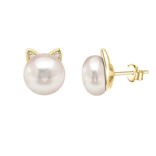 PAVOI 14K Yellow Gold Plated Cat Pearl Earrings 14k Yellow Gold Pearl Earrings