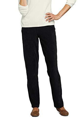 Lands' End Women's Sport Knit Corduroy Elastic Waist Pants High Rise X-Large Deep Black