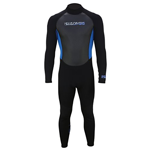 U.S. Divers Adult 2015 Full Wetsuit, Black/Blue, Medium Large
