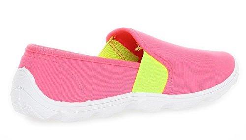 Damen Slipper Sneaker Schuhe Sommerschuhe in 6 Farben Gr. 36 bis 41 Pink